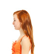 profile young teenager on white background