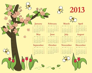 2013 Colorful calendar for children