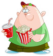 Kid with popcorn and soda