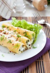 cannelloni stuffed with spinach and soft cheese