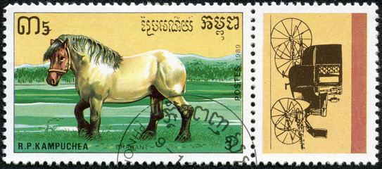 stamp shows a Brabant draught horse and coach