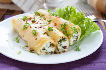 italian cannelloni stuffed with spinach and cheese