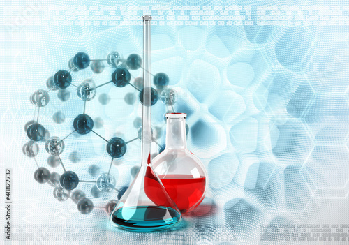 Test tubes on molecules stylized abstract background
