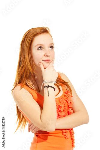 girl look up in studio, red long hair