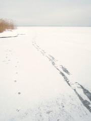 Fußspuren auf dem zugefrorenen Chiemsee 12