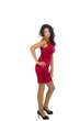Tolle Frau im roten Kleid