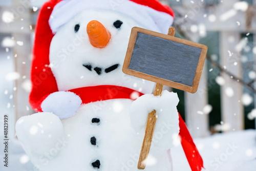Schneemann mit Tafel