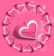 Pink Valentines day hearts circle love card vector