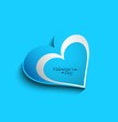 Valentines day blue colorful single heart greeting card