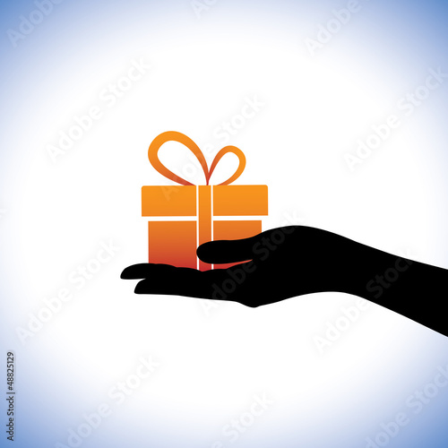 Illustration of person giving/receiving gift package. This conce