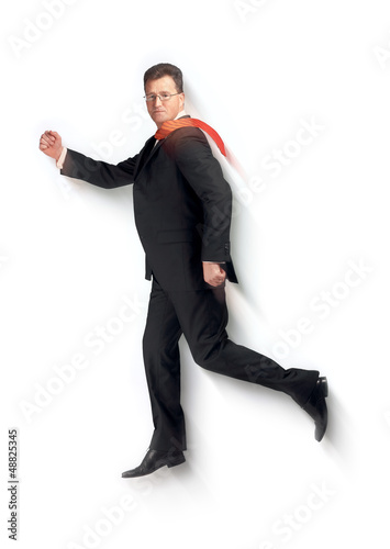 Flying business superman