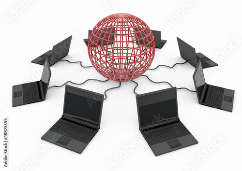 World Wide Web with laptop computer - red -