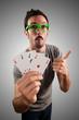 winner guy holding poker cards