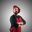 doubtful bearded chubby chef