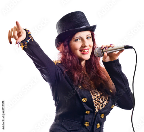 actress with microphone
