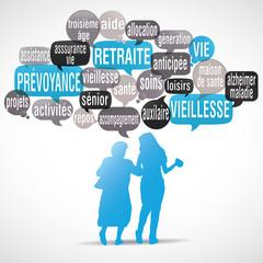 nuage de mots bulles silhouette : retraite