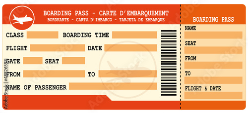 Boarding pass. Red flight coupon.