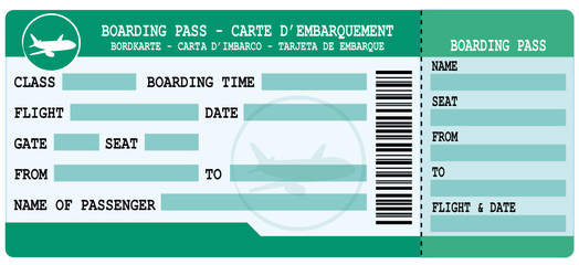 Boarding pass. Green and blue flight coupon.