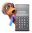 3d Pilot Dog behind a calculator