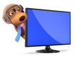 3d Pilot Dog peeps out from behind widescreen tv