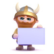 Viking holds a conveniently blank sign