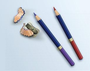sacapuntas y lápices