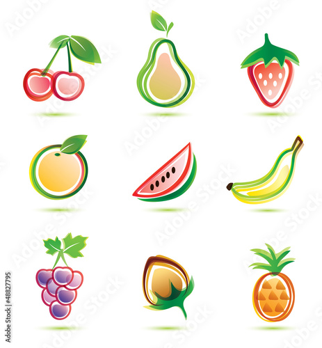 green fruits icons set