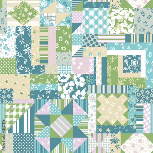 Patchwork quilt seamless pattern