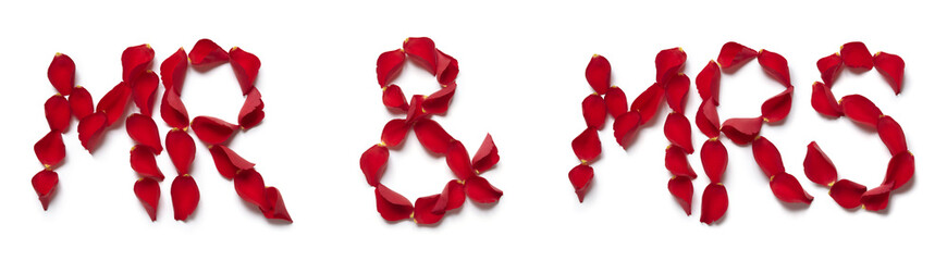 Red rose petals spelling mr and mrs