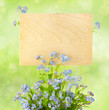 Wood Sign with Flowers / empty board for your text /  on light-g