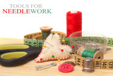tools for needlework, thread, scissors and tape measure  poster