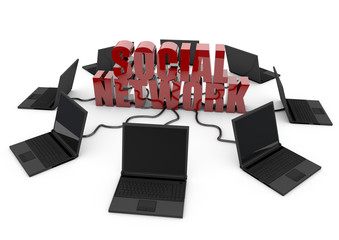 Social Network with laptop computer - red -