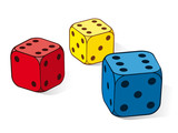 Three colourful dice with sixes