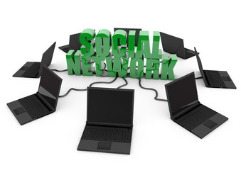 Social Network with laptop computer - green -
