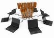 World Wide Web with laptop computer - orange -