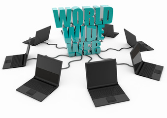 World Wide Web with laptop computer - turquoise -