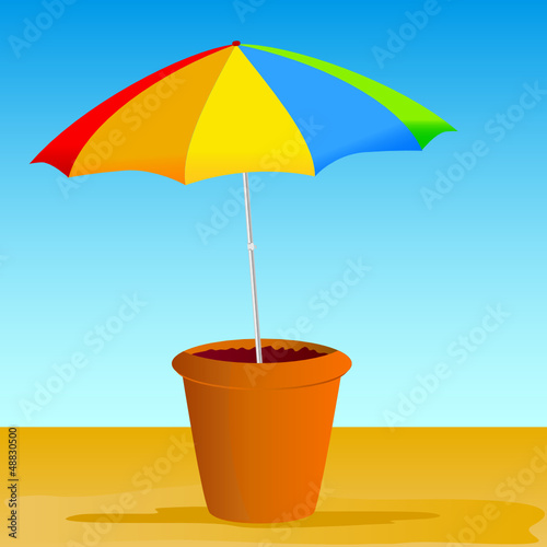 flowerpot with ummbrella vector illustration