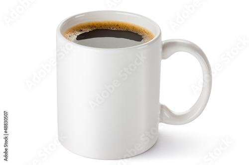 Foto op Canvas Koffie White ceramic coffee mug