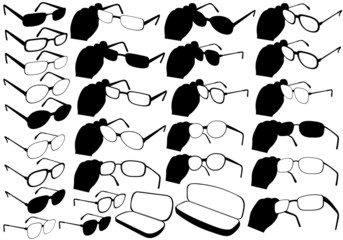Illustration of different glasses in 3D view