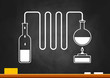 Distillation kit on blackboard
