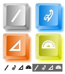 Education icon set. Computer keys. Vector illustration.