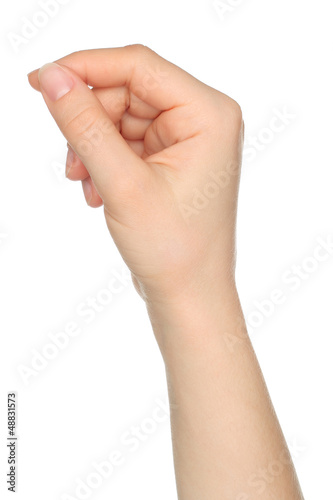Woman hand like holds charge card on white backround.