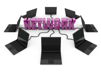 Social Network with laptop computer - purple -