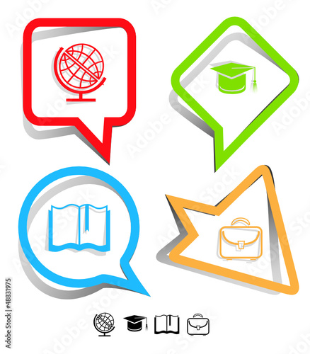 Education icon set. Paper stickers. Vector illustration.