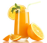 Fototapety Glass of orange juice with mint and orange isolated on white