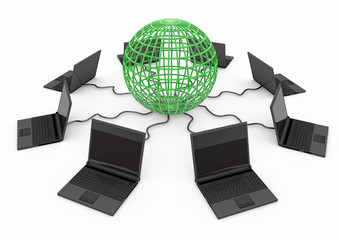 World Wide Web with laptop computer - green -