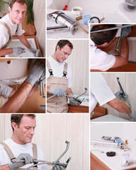 Montage of plumber repairing bathroom sink