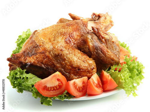 Tasty whole roasted chicken