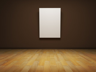 Image of blank white canvas on a brown wall