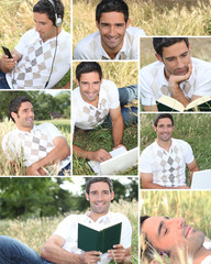 Montage of a man relaxing at the park